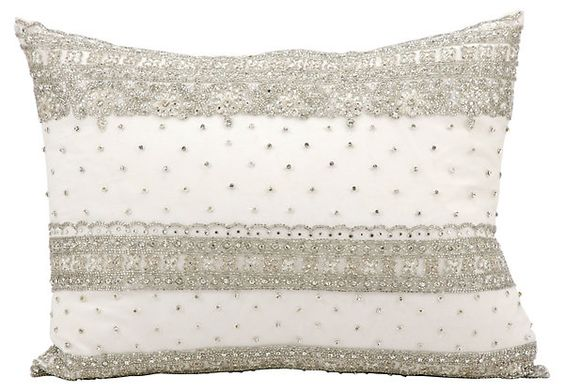 Quilted Stripe 14x20 Pillow, Ivory | Cool