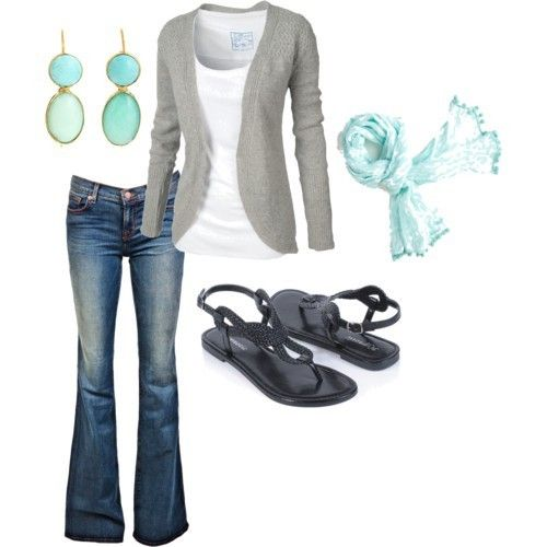 LOOK jeans w pointelle open cardi, turquoise linen scarf & turquoise jewlery, black or silver sandals ensembles