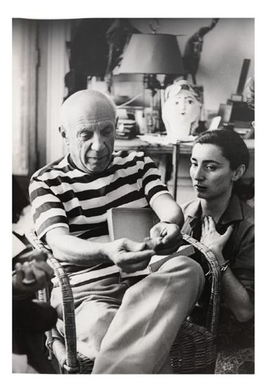 View Pablo Picasso and his wife, Jacqueline in Cannes (1961) By André Villers; Silver gelatin reprint; 9.75 H x 14.00 W; . Access more artwork lots and estimated & realized auction prices on MutualArt.