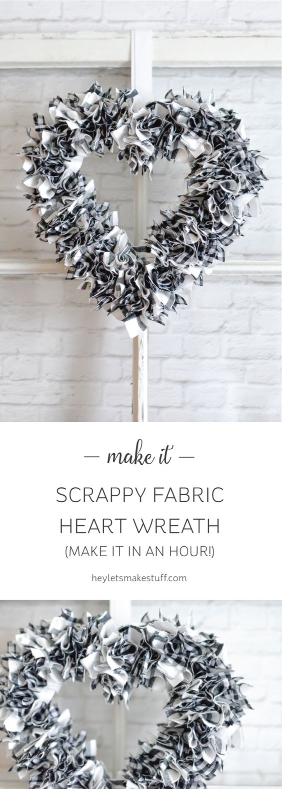 Scrappy heart wreath. Less than an hour to make, including the time it took me to cut the fabric.    Gloucestershire Resource Centre http://www.grcltd.org/scrapstore/