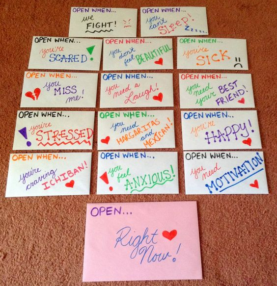 """Open when..."" envelopes for your best friend."