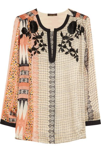 Boho-chic, Embroided printed satin top | Vineet Bahl
