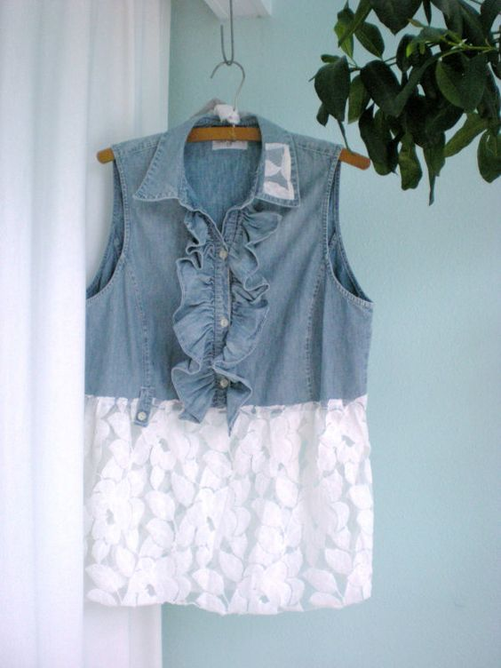 Lace and Denim Upcycled Altered Shirt: