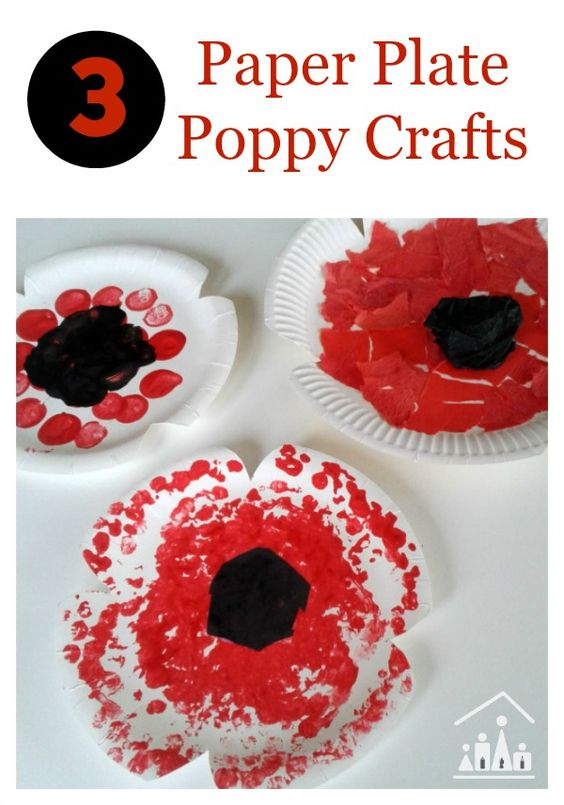 Paper plate poppy crafts for remembrance sunday crafts for Veterans day poppy craft