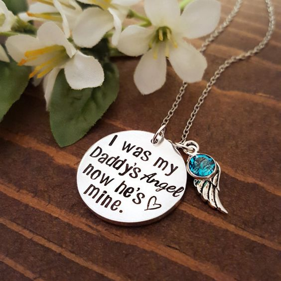 Memorial Necklace For Loss Of A Father by PocketsOfMischief