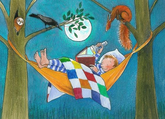 Bedtime reading.  © Annette Fienieg (Artist. Utrecht, Holland) Prints, books, cards and hand painted t-shirts available at her site. Night scene. Boy reading by flashlight in a hammock ... Give credit where due. Pin from the Primary Source. Artists need to make a living too.: