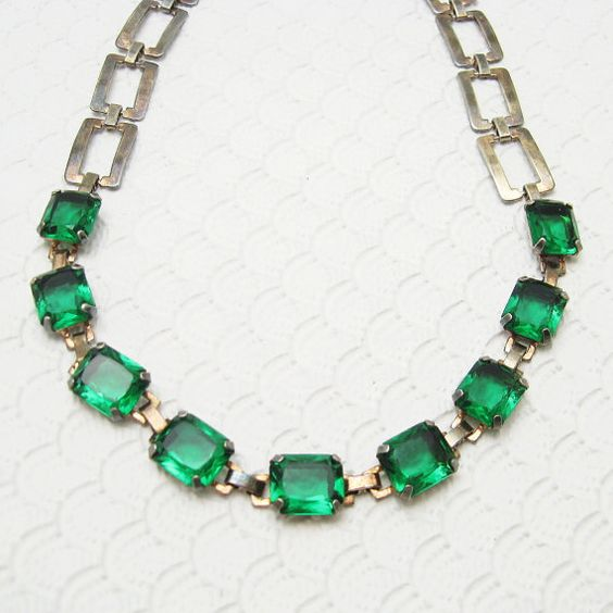 Hey, I found this really awesome Etsy listing at https://www.etsy.com/listing/220994541/deco-sterling-necklace-green-chiclets