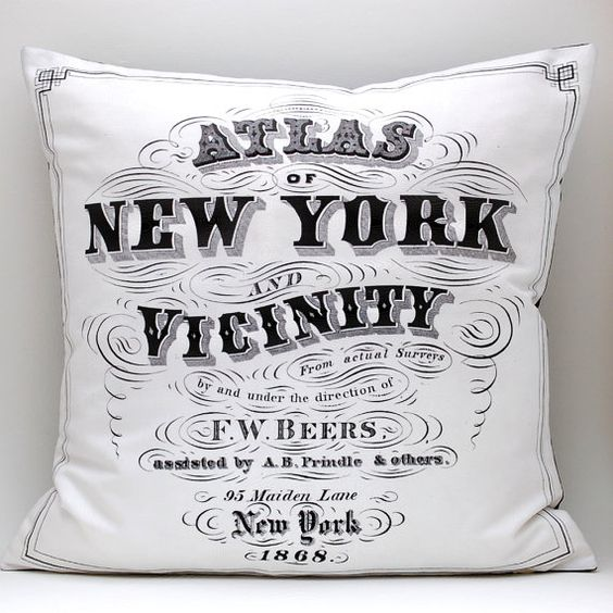 DIY vintage NYC ATLAS pillow kit 16x16 envelope style by saltlabs, $35.00