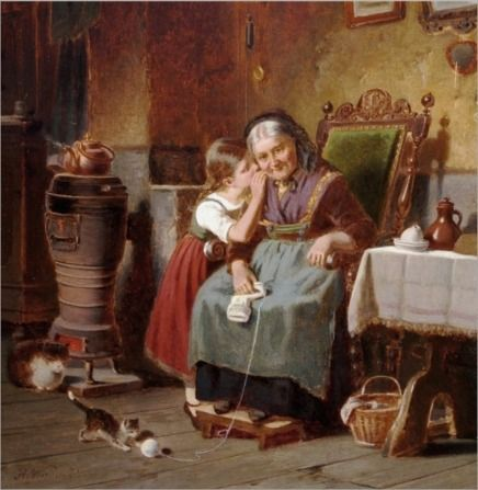 Hermann Werner (1816-1905), 'Whispering to Grandma'via