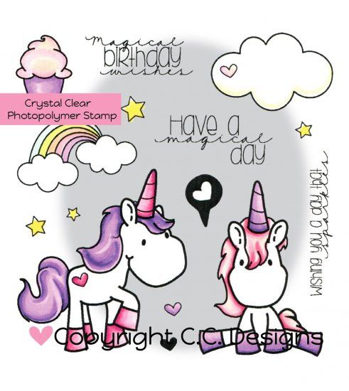 """C.C. Designs Meoples """"Unicorn Dreams"""" Clear Stamp Set *NEW*"""