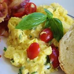 Creamy Cheese Scrambled Eggs with Basil, photo by naples34102