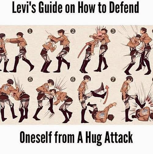 Levi's Guide on How To Defend Oneself From a Hug Attack | Levi & Eren - Attack on Titan / Shingeki no Kyojin