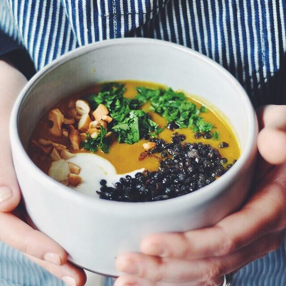Curried Sweet Potato Soup with Crispy Black Lentils | Turntable Kitchen