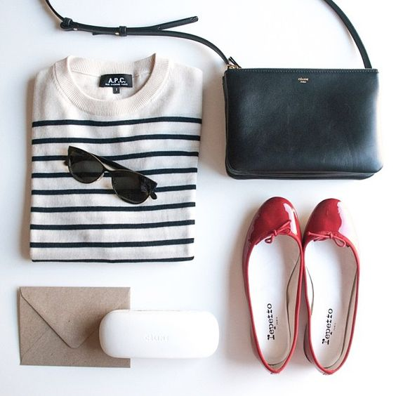 Perfect combination, red shoes, breton top http://www.thenauticalcompany.com/white-navy-breton-top/prod_166.html, shades & navy bag