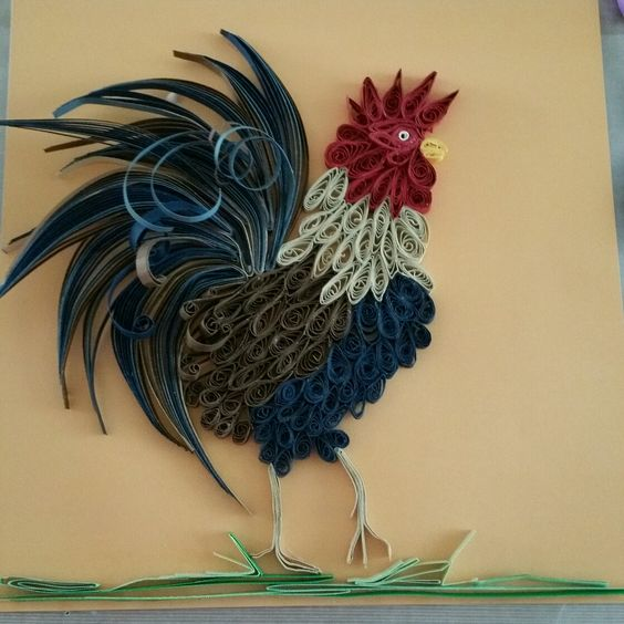 Paper quilling rooster