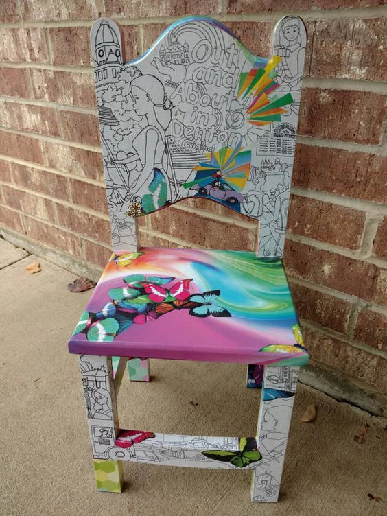 Super sweet #chair for a #princess #butterflies #flowers #buttons #furniture #Etsy https://www.etsy.com/listing/265724255/rainbow-butterflies-and-flower-chair-fit