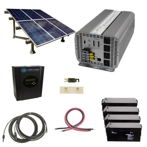 1440 Watt Off Grid Solar Kit With 5000 Watt Modified Sine Power Inverter 24 Volt And Ground Mount Rack Solar Kit Solar Heating Solar Panels