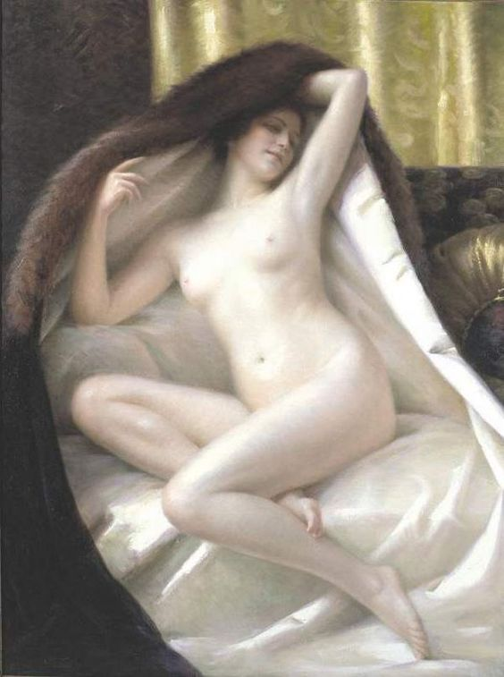 gaston-guedy-1874-e28093-1955-french-young-woman-wrapped-in-a-fur-blanket.jpg (600×806)