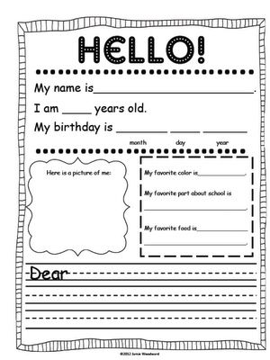 AHG Pen Pal Ideas: This would be a great introduction letter for your students to use the first time they write...: