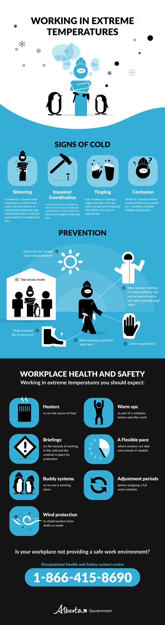 Working in the Cold infographic from Alberta