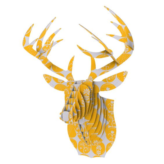 "Anneline Sophia ""Dotty Papercut Yellow"" Circles Gray Bucky Deer Bust Jr."