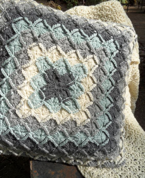 Wool Eater Square Pillow Cover in Blue Grey and Ivory by LOMamas