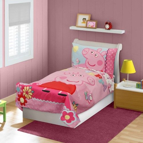 Nickelodeon Peppa Pig Toddler Bedding Set Pink 4 Piece Toddler