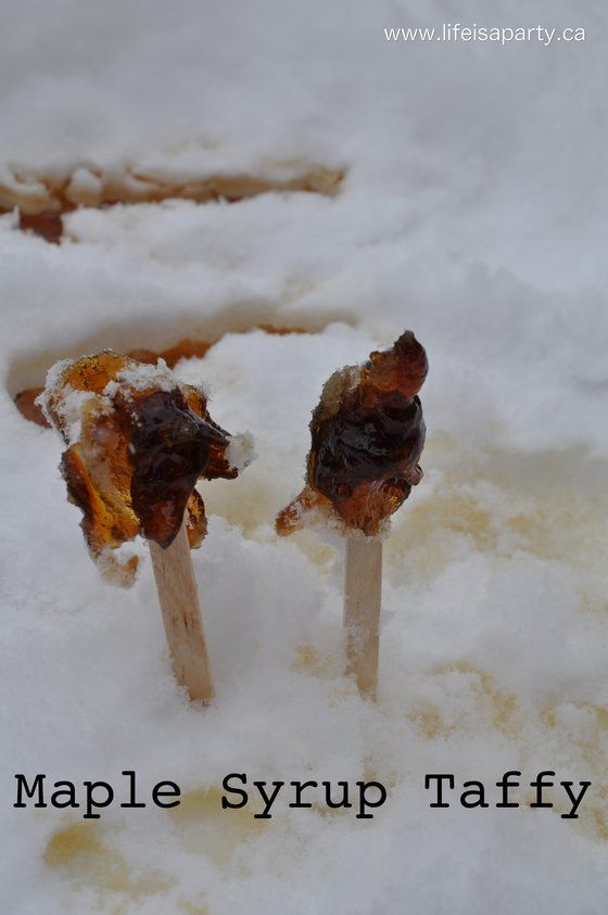 Maple syrup taffy snow recipe for crafts