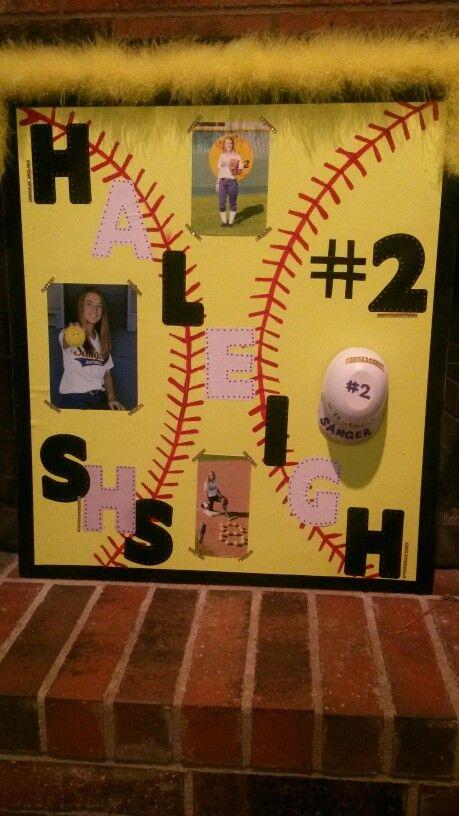 Haleighu0026#39;s softball playoff poster! Softball yellow poster board glued ...