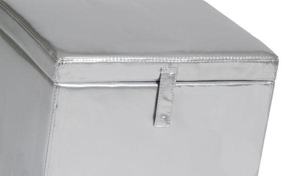 REGALONIA Exclusivo puff con función de baúl polipiel en plata