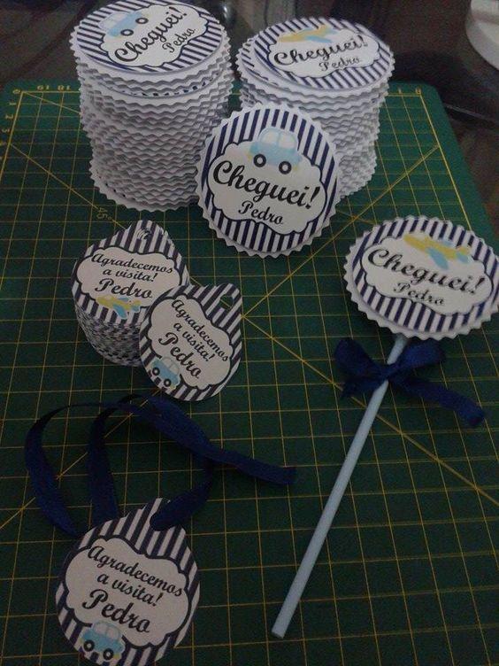Rótulo para pirulito e tags para lembrancinha de nascimento - Amor&Arte by Valéria Lopes
