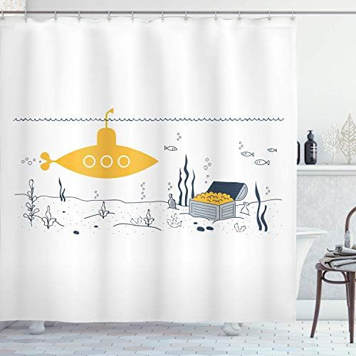 Joocar Yellow Submarine Shower Curtain Submarine Fish And A Treasure Chest On The Sea Bottom Print Fabric Bathroom D In 2020 Shower Curtain Shower Curtains