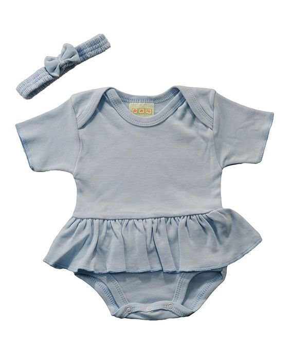 Look at this PAM Light Blue Ruffle Bodysuit & Headband - Infant on #zulily today!