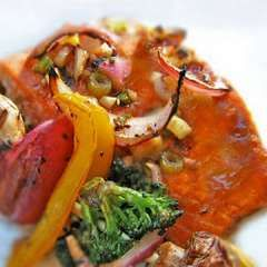 Easy Agave and Lime Salmon (with onion, scallions, garlic, and grilled vegetables)