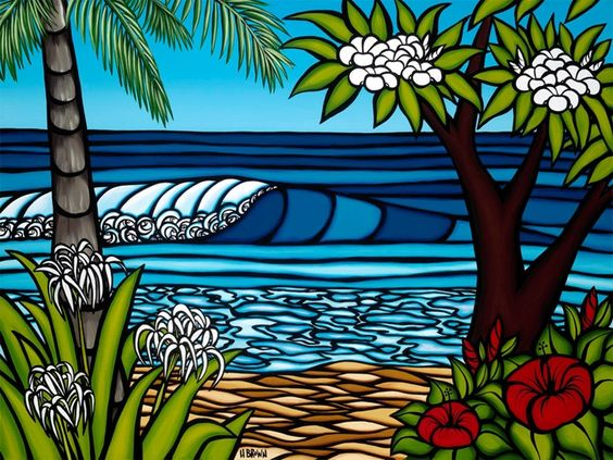 Surf art by Heather Brown - Original paintings & prints - waves, ocean, surf art from hawaii. I LOVE Heather Brown's work -- the colors are so vibrant!