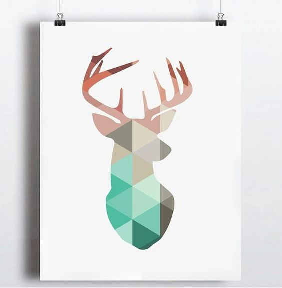 Geometric deer head . for 1600INR with framing #artezy #canvasprint #ahmedabad by artezyindia
