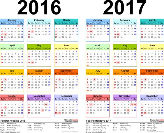 free two year calendar 2016 2017 calendar pinterest