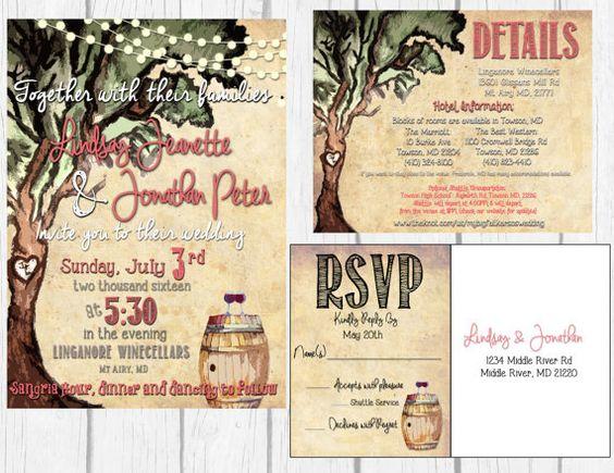 Printable Rustic Wine Wedding Invitation Set