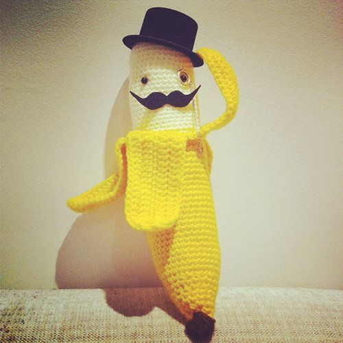 Eleven Uber-Adorable Crocheted Toys Now thats a distinguished banana! Half Peeled Banana by Anabananna via Etsy