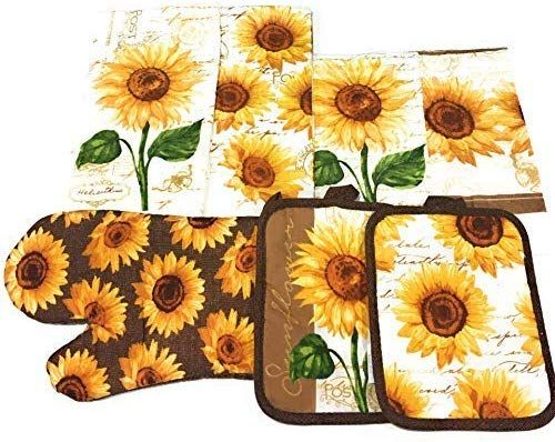 Amazon Com Mainstay Sunflower Kitchen Set Includes 2 Kitchen Towels 2 Pot Holders 1 Oven Mitt Sunflower Kitchen Decor Sunflower Kitchen Sunflower Home Decor