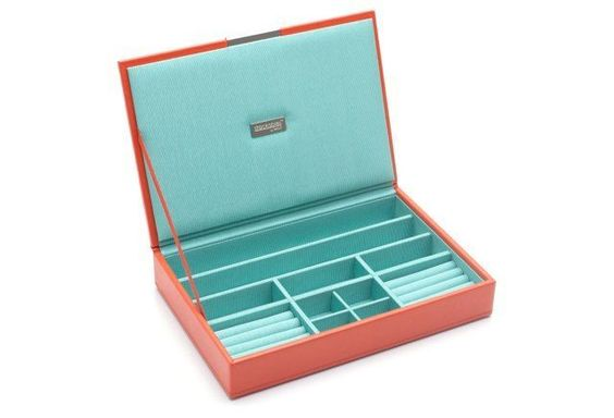 Medium Stack Jewelry Tray w/ Lid, Orange