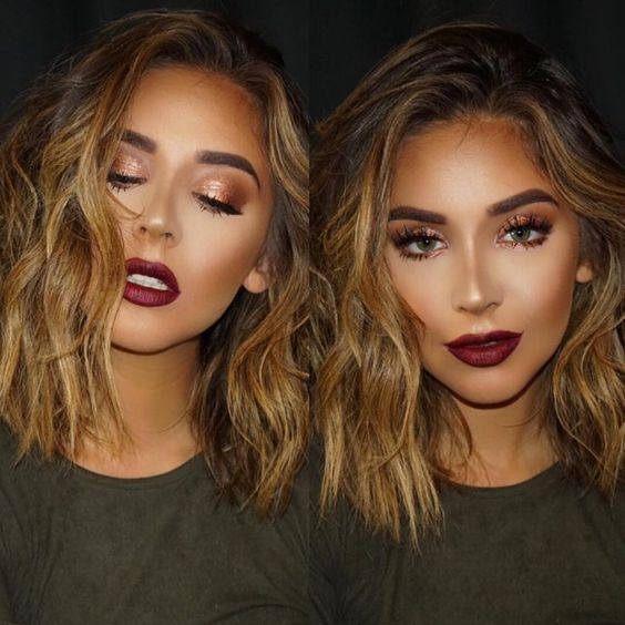 "Copper eyeshadow and a burgundy lip - the perfect colour combo by Brittany Bear make up - using Anastasia Beverley Hills ""So Hollywood"" highlighter and ""sad girl"" on her lips...x"