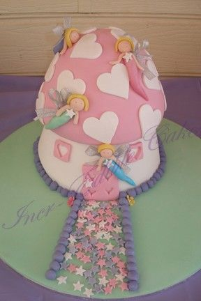 Fairy Mushroom Birthday cake with hand made fondant faries    (Inspired by Debby Brown's Party Cakes)