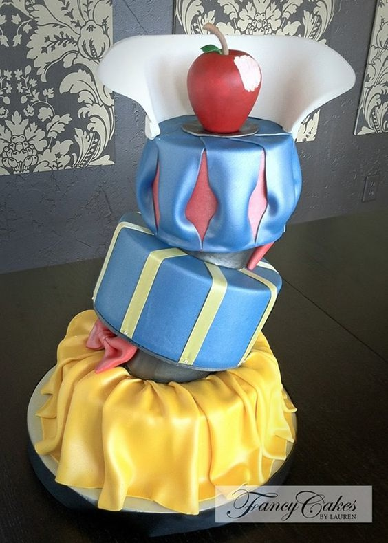 Stunning Topsy Turvy Snow White Cake