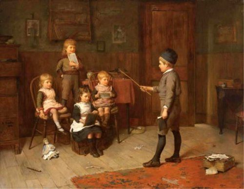 Playing School - Harry Brooker (1848 – 1940, English). with a doll