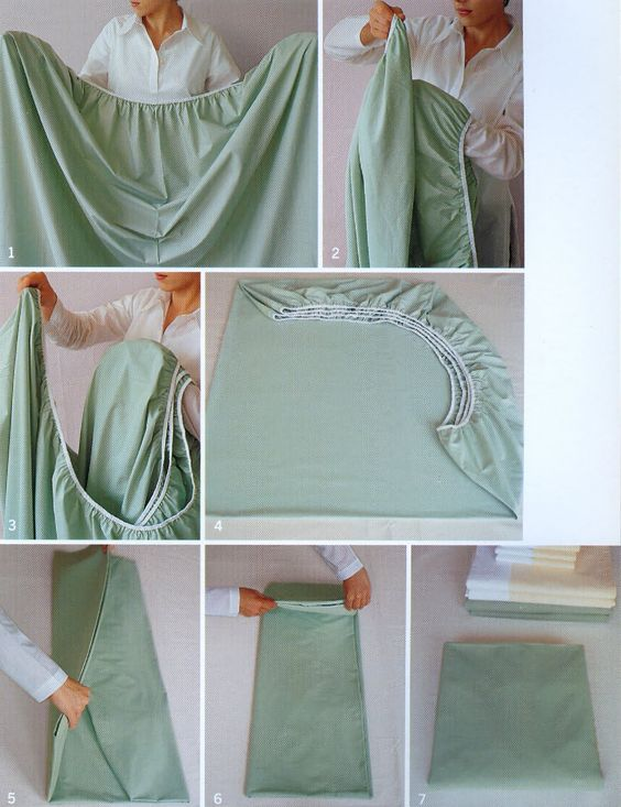 how to fold a fitted sheet (photos by martha stewart) i gotta learn this.