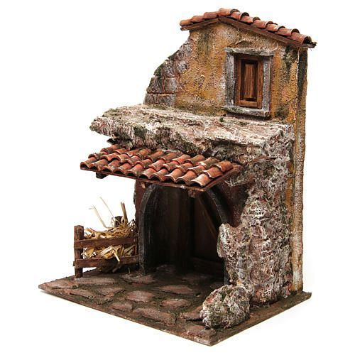 Casa con stalla per il presepe 30x24x18 cm 2 Mosaic Pots, Firewood