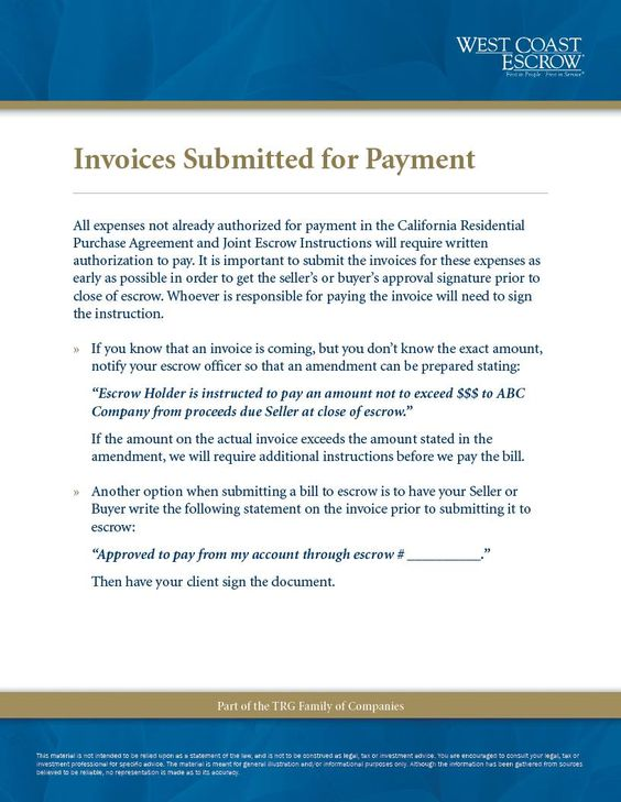 Informational Escrow Flyer Invoices Submitted for Payment www - payment invoices
