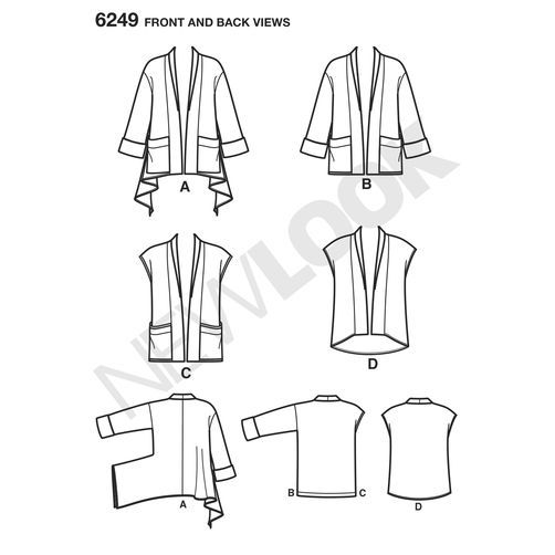 New Look Pattern 6249 Misses' Jacket with Length Variations & Vest