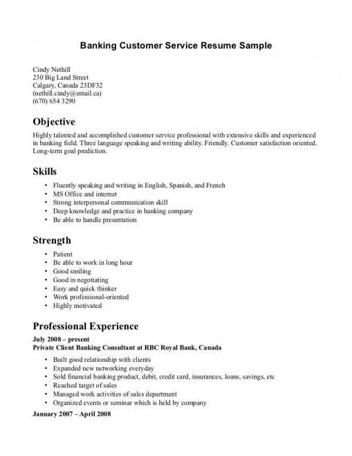 Sample Resume For Customer Service Representative In Bank When